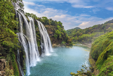 Landscape scenery view of a waterfall in Detian, Guangxi 免版税图像 - 84249941