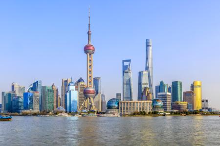 Panoramic view of the Bund, Pudong Stock Photo