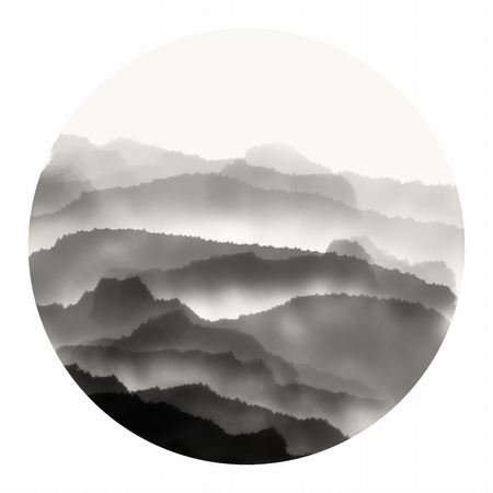 silent: Chinese ink landscape painting Stock Photo