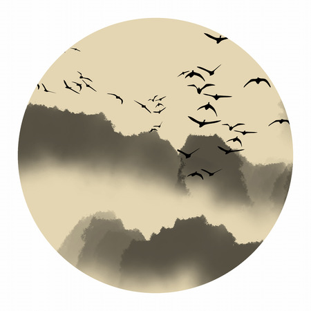 Chinese ink landscape painting Stock Photo