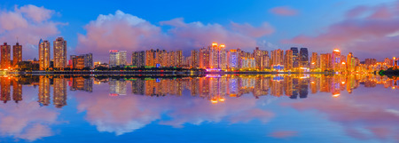 estate: Night view of the beautiful city of Wenzhou