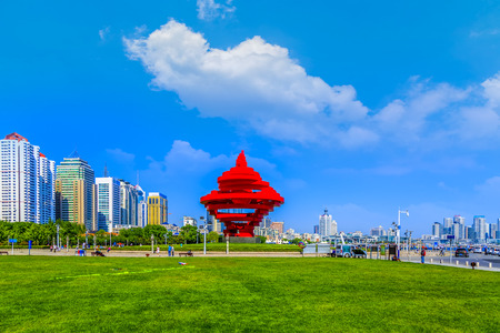 Urban architecture, landscape and skyline of a park in China Standard-Bild - 87145202
