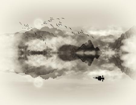Berg Huangshan Kiefer und die Wolke Meer Standard-Bild - 91791159