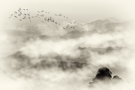 Mount Huangshan sea stone and mountain fog