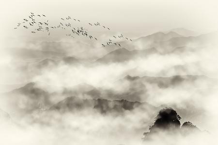 Zet Huangshan-overzeese steen en bergmist op