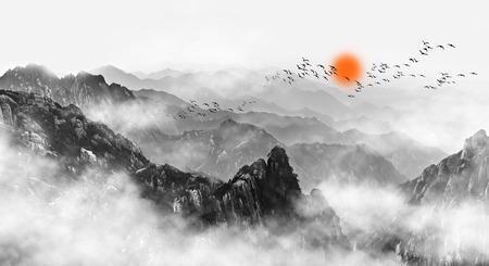 Mount Huangshan Berg Wolken und Nebel Standard-Bild - 91791642