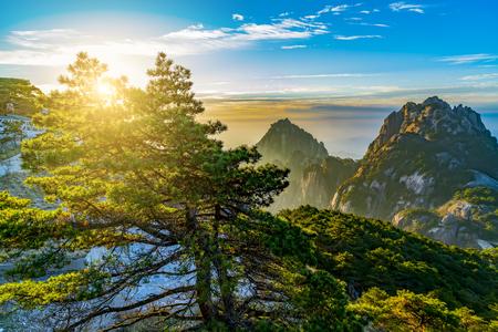 Sunrise scenery in Mount Huangshan