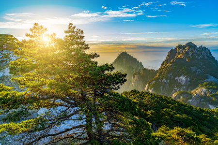 Sunrise scenery in Mount Huangshan