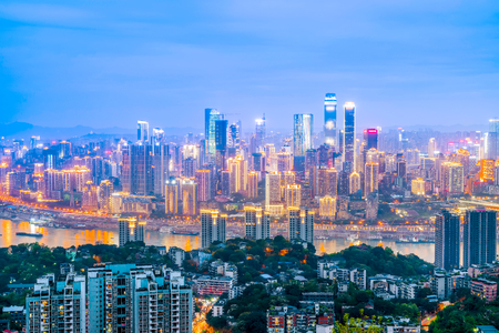 The landscape and river of the urban architectural landscape in Chongqing