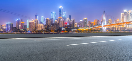 Road ground and Chongqing urban architectural landscape skyline Foto de archivo - 97992821