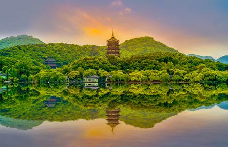 Le paysage de Hangzhou, West Lake Banque d'images
