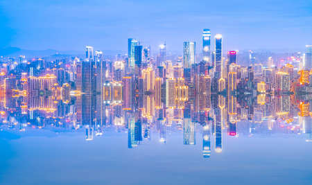 Urban nightscape skyline