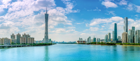 Guangzhou financial district urban skyline Editorial