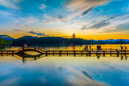The beautiful landscape of West Lake, Hangzhou 스톡 콘텐츠
