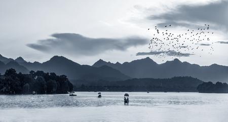中国のインクと洗浄の風景 写真素材