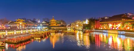 The Qinhuai River night scene in Confucius temple, Nanjing Standard-Bild