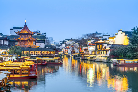 Landscape view of an ancient town in Nanjing, China Stock Photo
