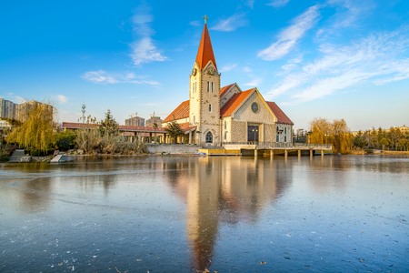 Landscape view of a church at the lake side