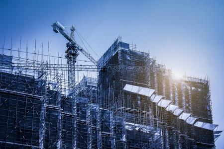 Blue tone building construction site Stock Photo