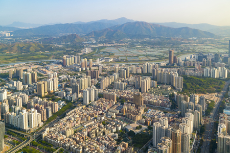 A birds eye view of urban architecture in Shenzhen Stock Photo