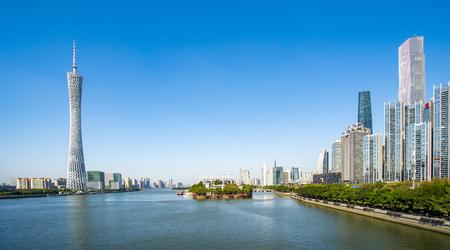 광저우에서 도시 건축 풍경의 스카이 라인 스톡 콘텐츠