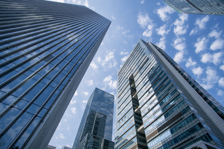 The skyscraper building landscape in Shenzhen Financial District Stock Photo
