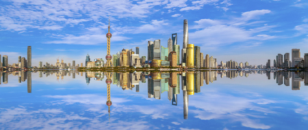 The skyline of urban architectural landscape in Lujiazui, Shanghai