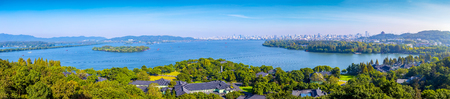 Landscape skyline of West Lake garden building in Hangzhou Stock Photo