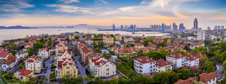 Coastal city Qingdao urban architectural landscape skyline