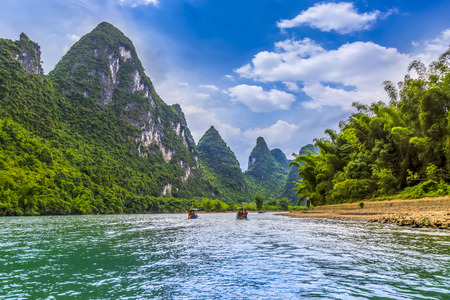 The beautiful landscape of the Lijiang River in Guilin Stock Photo