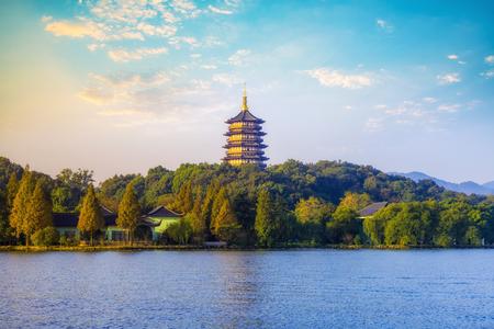 Scenic view of West Lake pagoda, Hangzhou