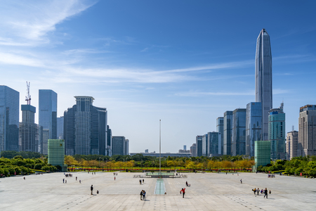 Shenzen town square with urban buildings in the background