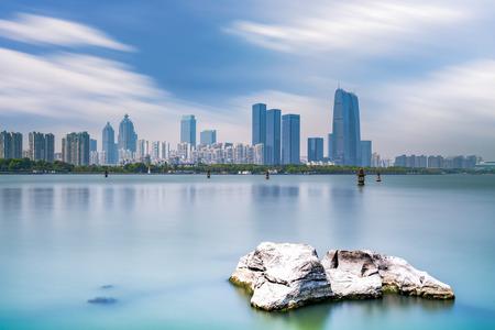 Architectural landscape and skyline of Suzhou Jinji Lake Financial District Stock Photo