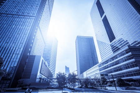 Low angle view of modern skyscrapers in Lujiazui Financial District Standard-Bild