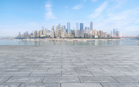 Urban square with skyline of commercial buildings in China 版權商用圖片