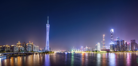 Guangzhou architectural skyline at night
