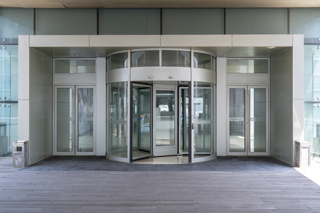 Revolving door at the entrance of the building Editorial