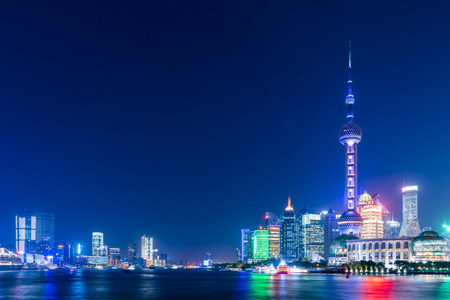 Night view of Shanghai skyline Stock Photo