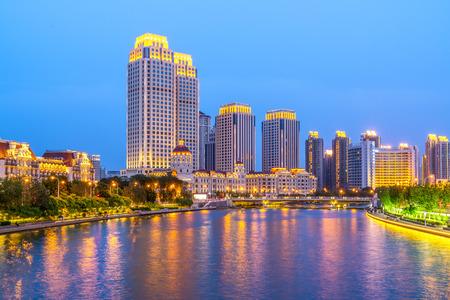 night skyline of Tianjin Standard-Bild