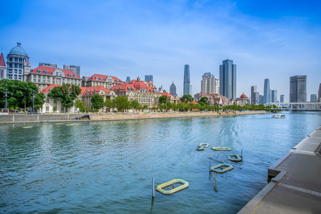Architectural landscape along the coast of Haihe River in Tianjin
