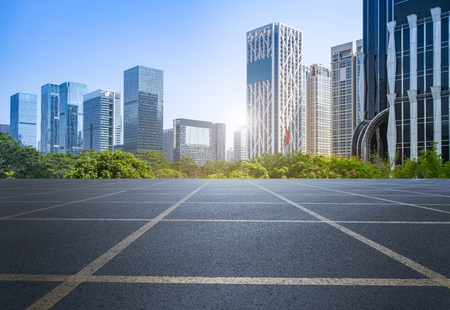 highway asphalt road and office building