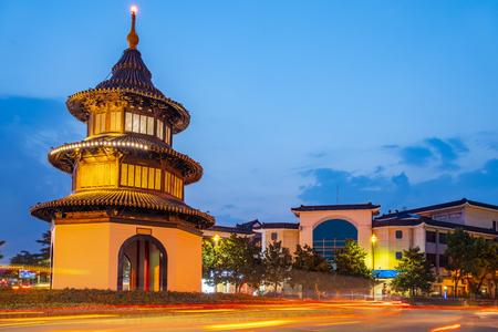 Night view of Wenchang Pavilion in Yangzhou