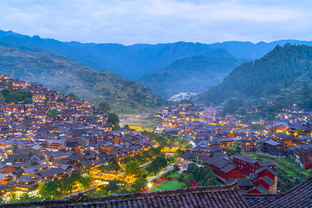 Guizhou Miao village night view