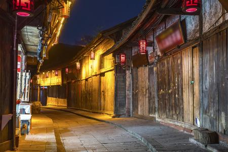 Chengdu Huanglongxi Ancient Town Night Scene Stock Photo