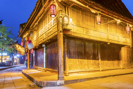Chengdu Huanglongxi Ancient Town Night Scene Editorial