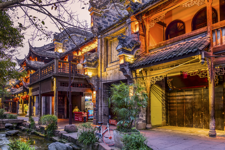 Chengdu Huanglongxi night view Stok Fotoğraf - 116596911
