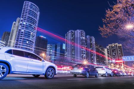 City street and blurred headlights
