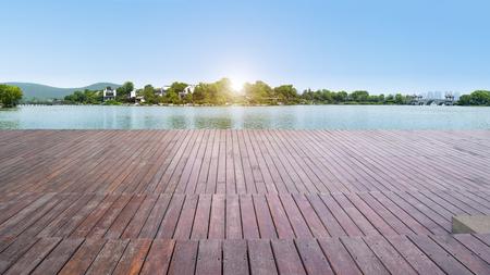 Floor tiles and natural landscape