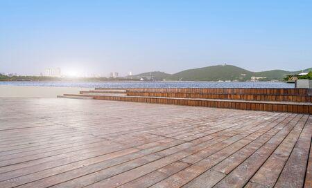 Wooden board observation deck and landscape scenery