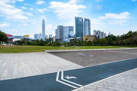 Urban roads and modern buildings